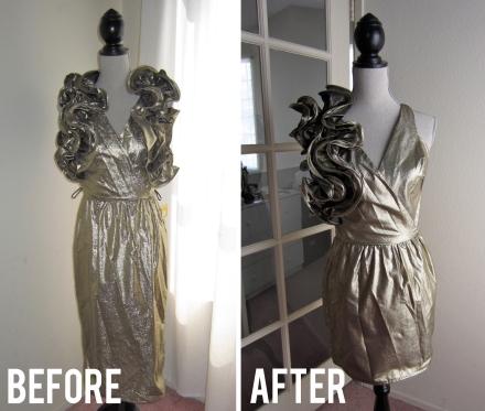 gold ruffle dress refashion