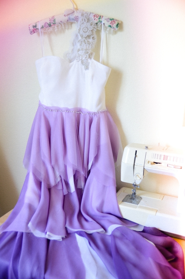 purple ombre wedding dress