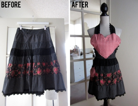 before and after diy apron