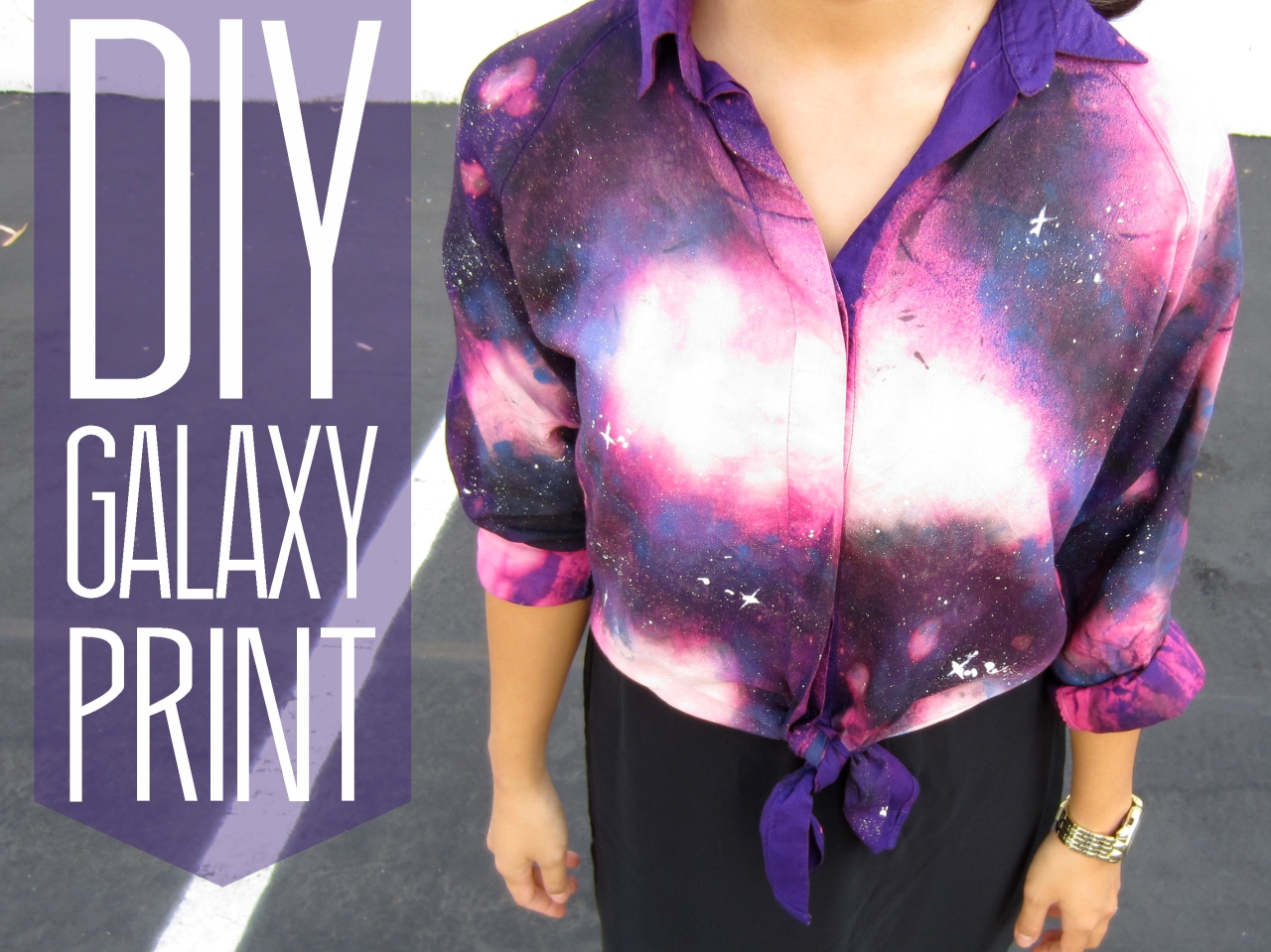 diy galaxy cosmic print shirt