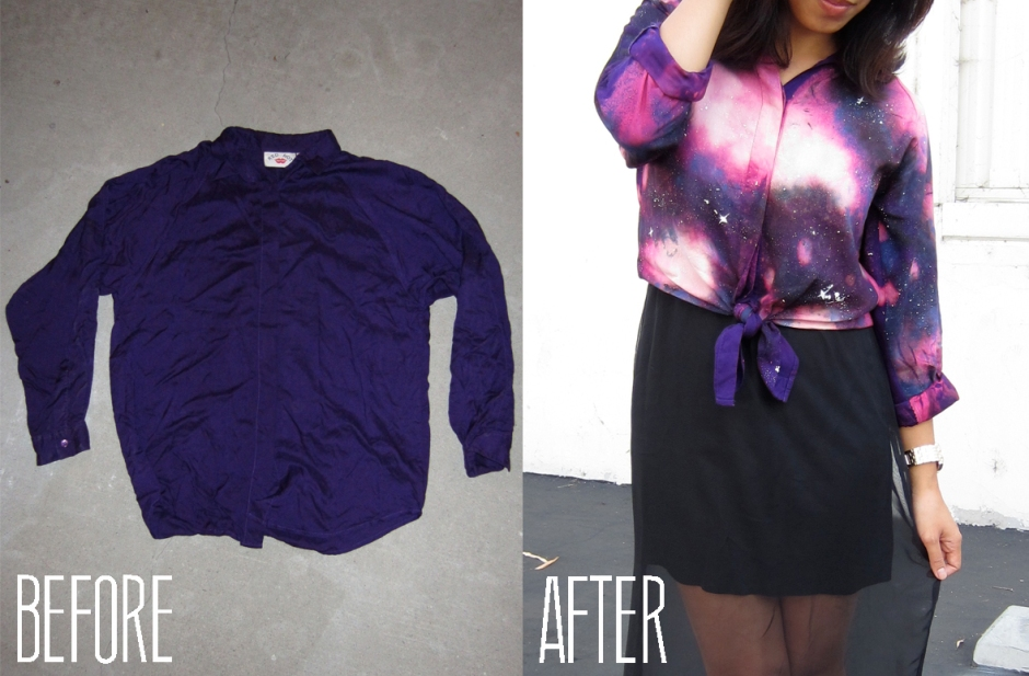 DIY galaxy print before and after
