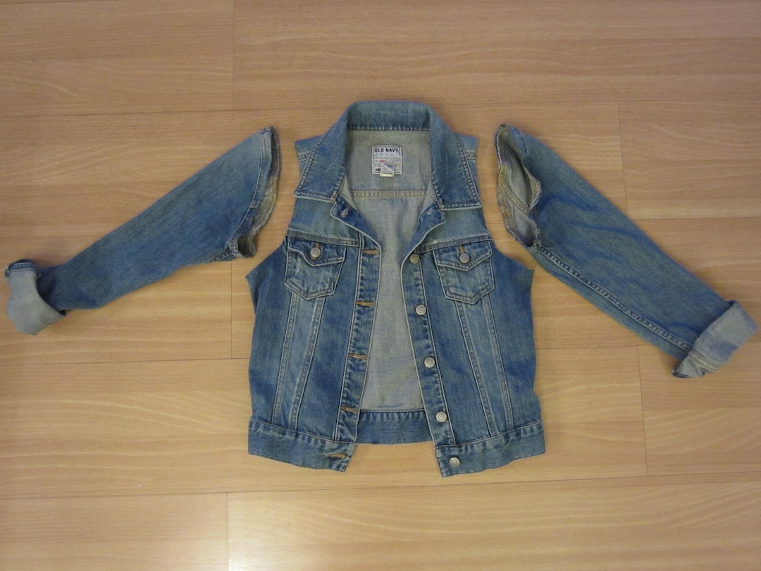 Shrunken Jean Jacket = Bejeweled Denim Vest | Let's Get Thrifty
