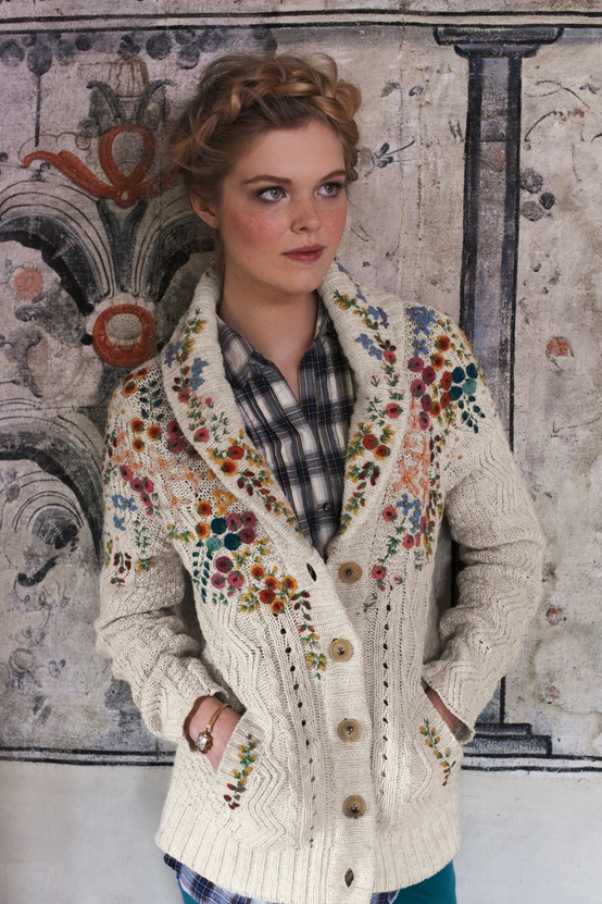 anthropologie embroidered cableknit cardigan