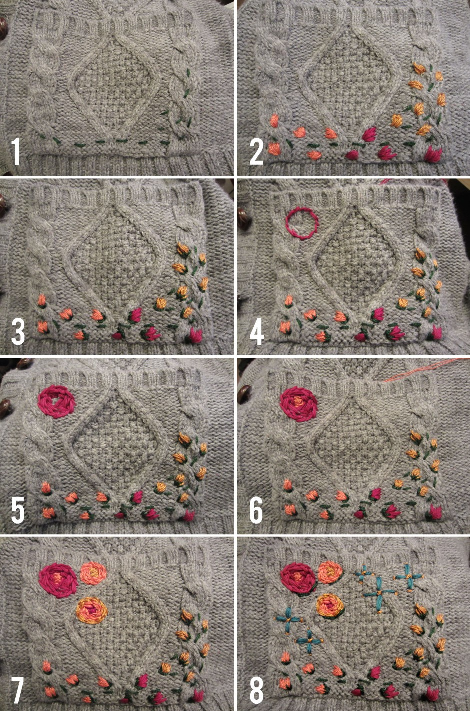 step by step embroider your cardigan