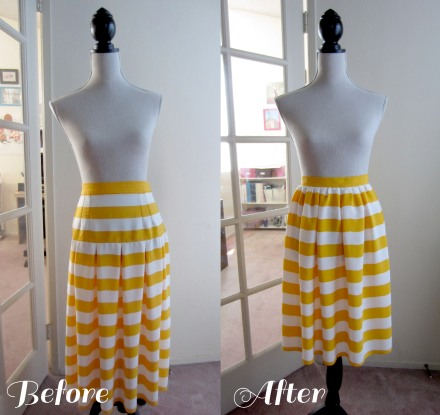 before and after striped skirt