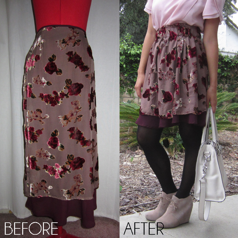 flocked floral before and after