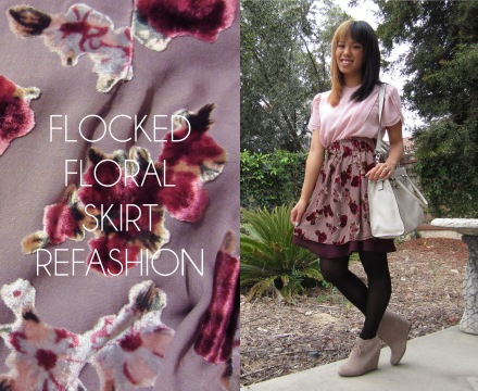 flocked floral skirt refashion