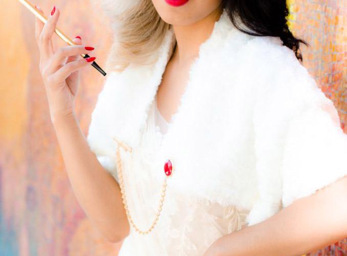 white fur shawl refashion