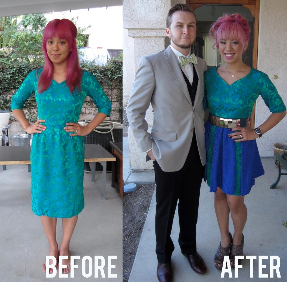 before and after green dress