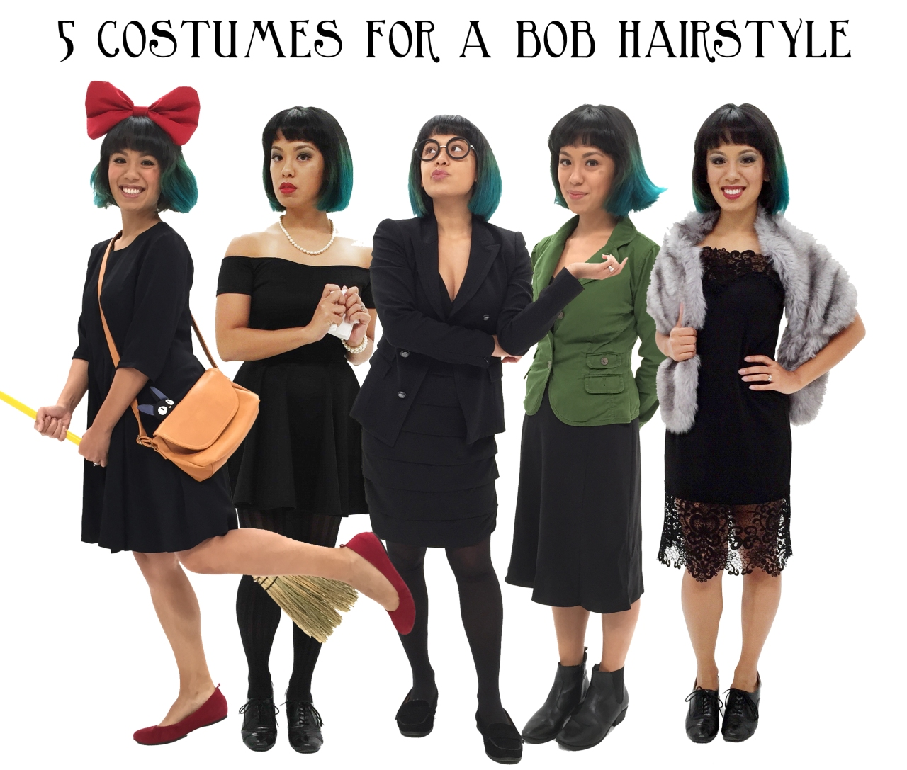 5 costumes for a bob hairstyle